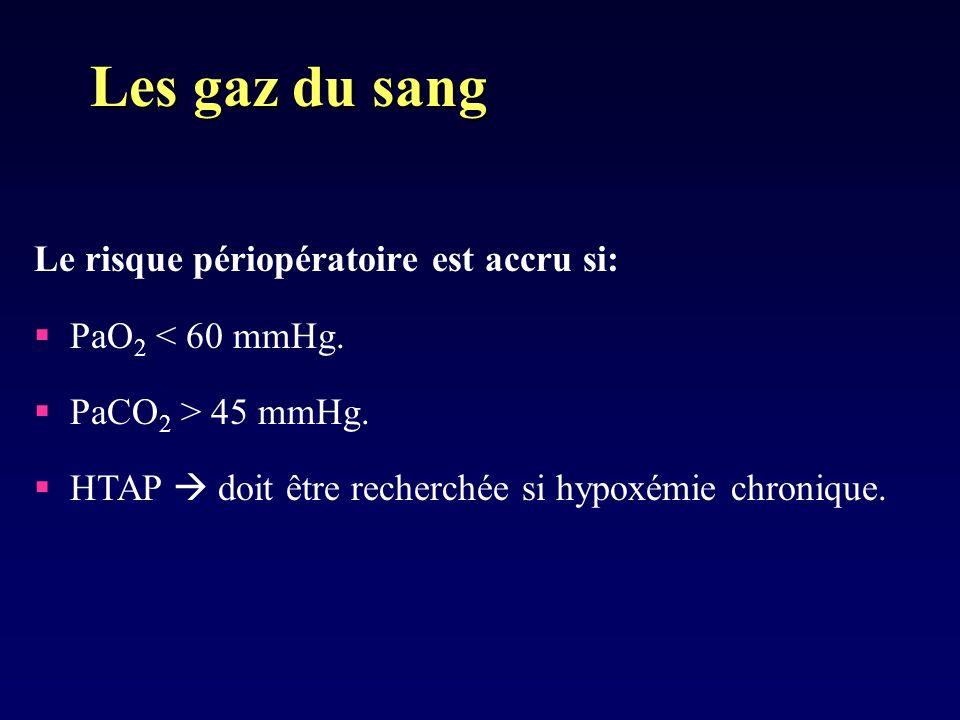 Le risque périopératoire est accru si: PaO 2 < 60 mmHg.