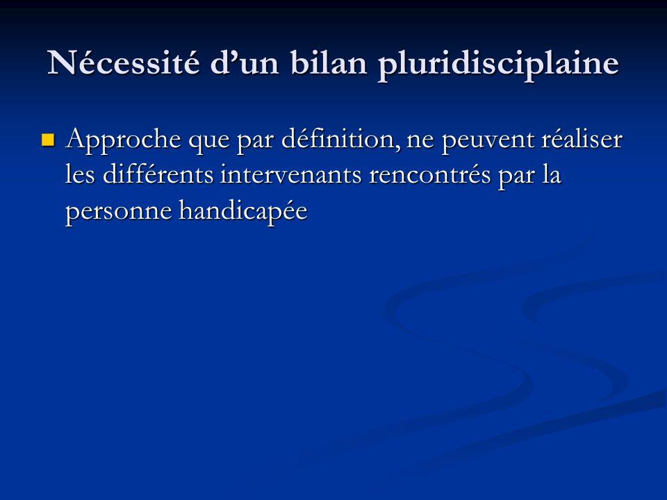 Nécessité dun bilan pluridisciplaine Approche que par définition, ne peuvent réaliser les différents intervenants rencontrés par la personne handicapé