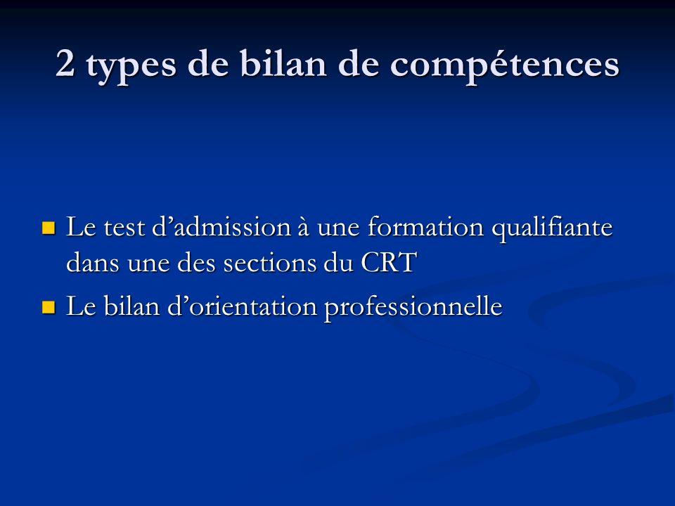 2 types de bilan de compétences Le test dadmission à une formation qualifiante dans une des sections du CRT Le test dadmission à une formation qualifi