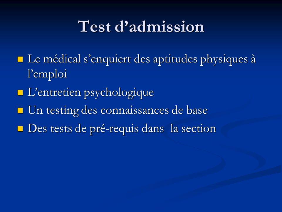 Test dadmission Le médical senquiert des aptitudes physiques à lemploi Le médical senquiert des aptitudes physiques à lemploi Lentretien psychologique