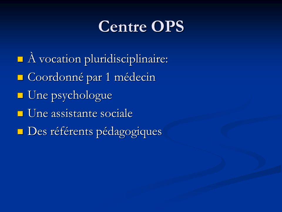 Centre OPS À vocation pluridisciplinaire: À vocation pluridisciplinaire: Coordonné par 1 médecin Coordonné par 1 médecin Une psychologue Une psycholog