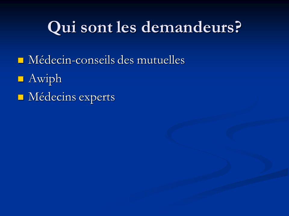 Qui sont les demandeurs? Médecin-conseils des mutuelles Médecin-conseils des mutuelles Awiph Awiph Médecins experts Médecins experts