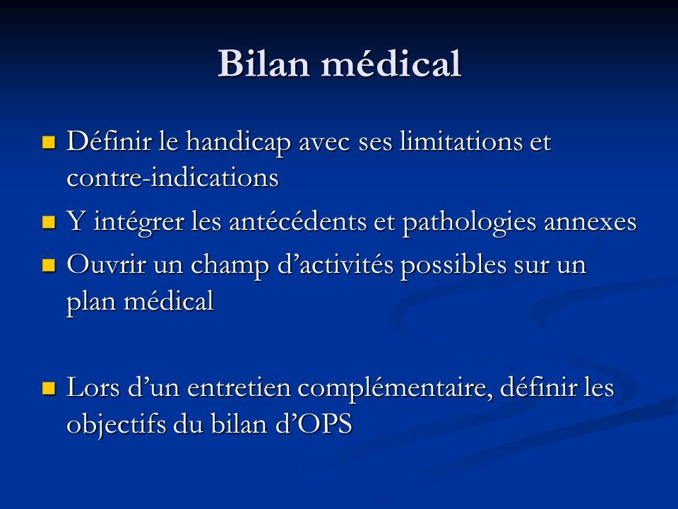 Bilan médical Définir le handicap avec ses limitations et contre-indications Définir le handicap avec ses limitations et contre-indications Y intégrer