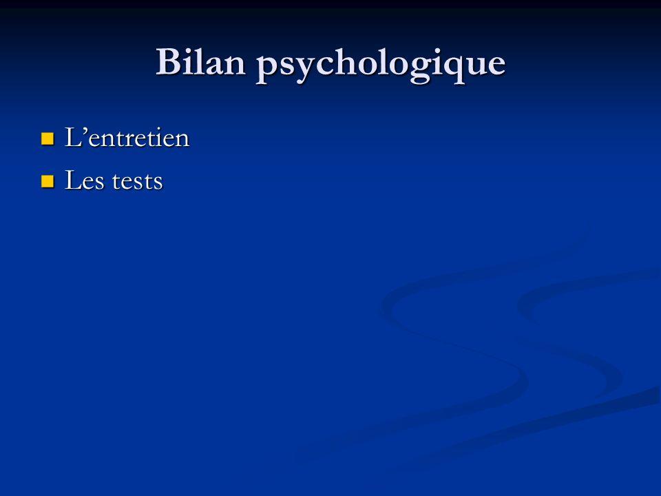 Bilan psychologique Lentretien Lentretien Les tests Les tests