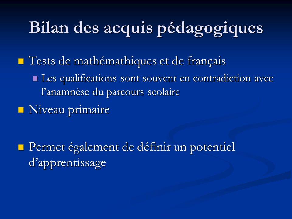 Bilan des acquis pédagogiques Tests de mathémathiques et de français Tests de mathémathiques et de français Les qualifications sont souvent en contrad