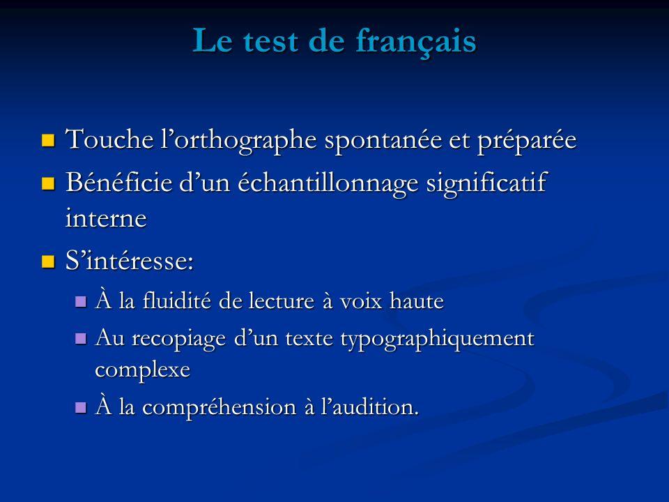 Le test de français Touche lorthographe spontanée et préparée Touche lorthographe spontanée et préparée Bénéficie dun échantillonnage significatif int