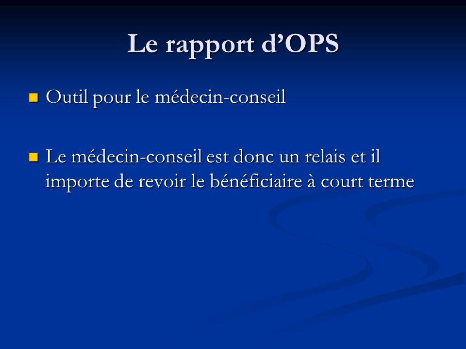 Le rapport dOPS Outil pour le médecin-conseil Outil pour le médecin-conseil Le médecin-conseil est donc un relais et il importe de revoir le bénéficia