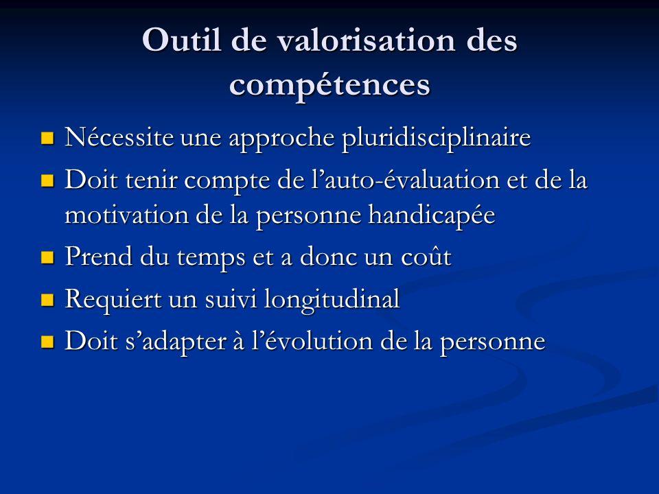 Outil de valorisation des compétences Nécessite une approche pluridisciplinaire Nécessite une approche pluridisciplinaire Doit tenir compte de lauto-é