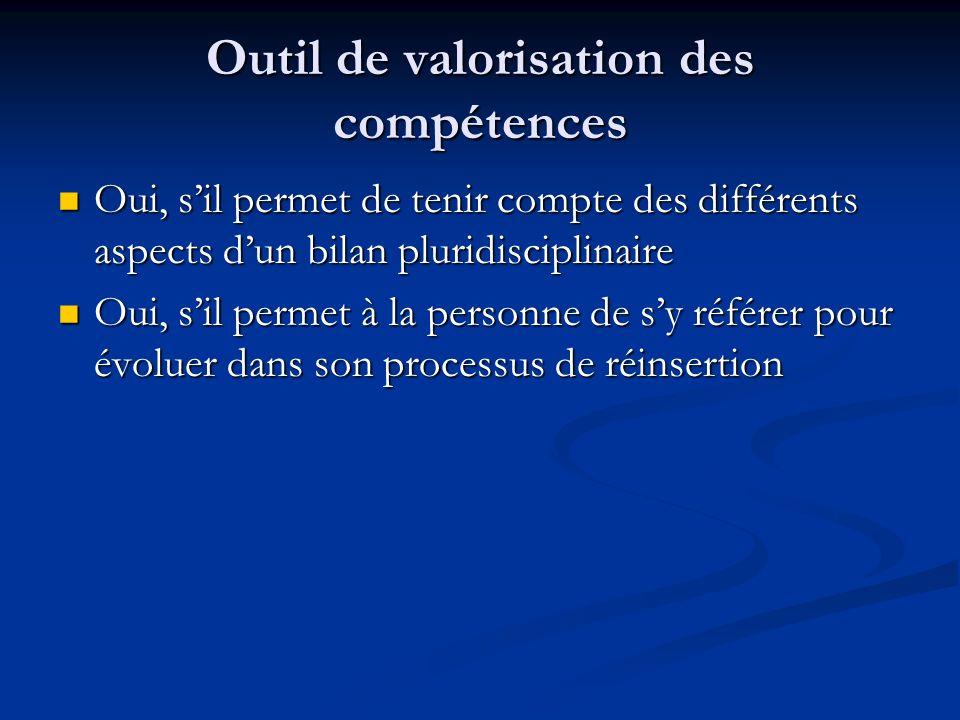 Outil de valorisation des compétences Oui, sil permet de tenir compte des différents aspects dun bilan pluridisciplinaire Oui, sil permet de tenir com