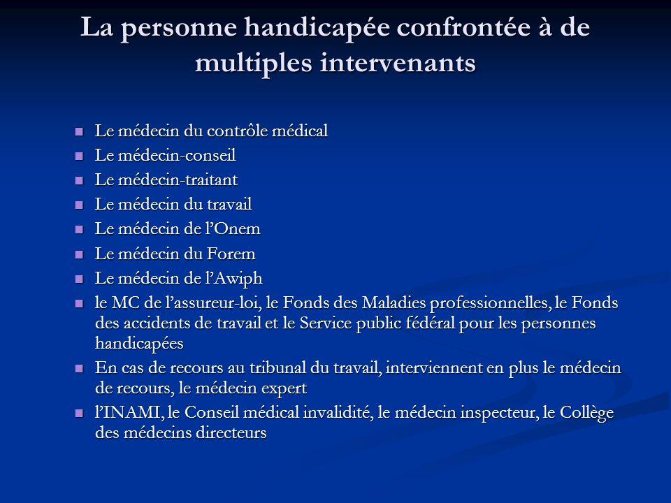 La personne handicapée confrontée à de multiples intervenants Le médecin du contrôle médical Le médecin du contrôle médical Le médecin-conseil Le méde