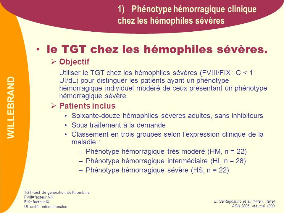 PREVAIL le TGT chez les hémophiles sévères (suite) Résultats Conclusion Ces résultats suggèrent fortement que le TGT pourrait être utilisé (1) comme un indicateur du phénotype hémorragique individuel chez les patients hémophiles et (2) pour lidentification des patients nécessitant une prophylaxie précoce.