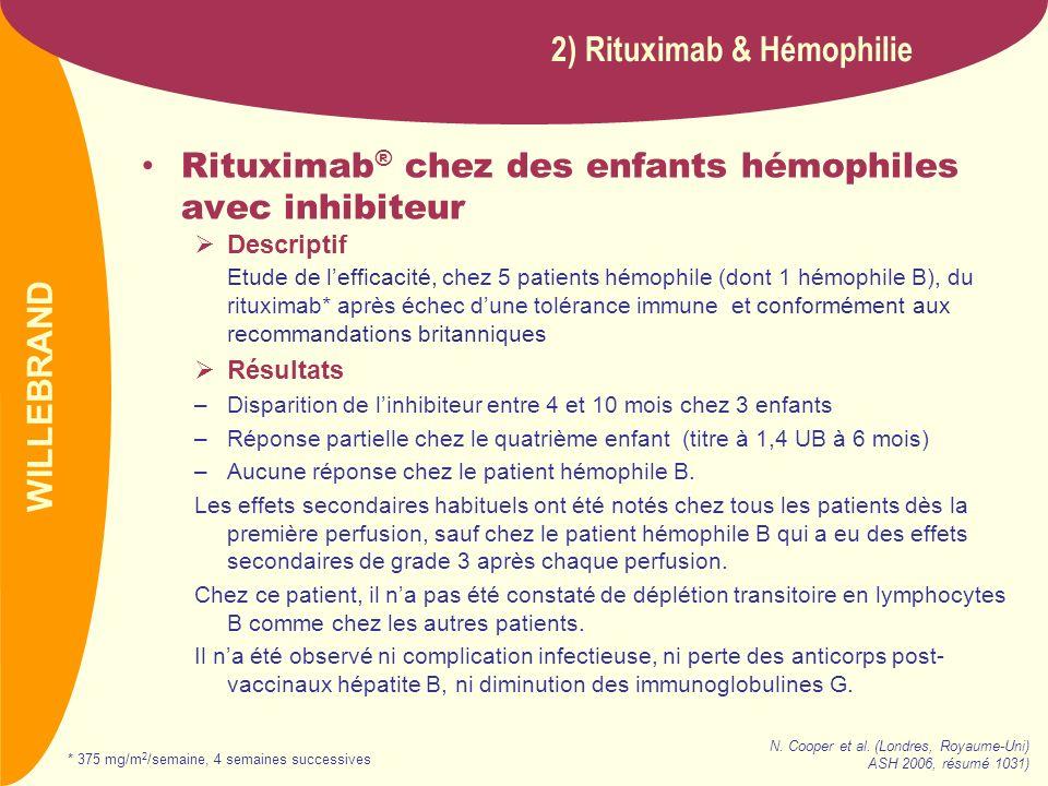 PREVAIL Rituximab ® chez des enfants hémophiles avec inhibiteur Descriptif Etude de lefficacité, chez 5 patients hémophile (dont 1 hémophile B), du ri