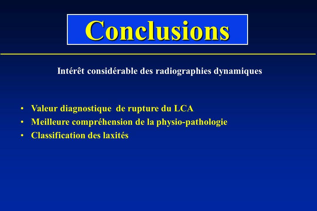 Valeur diagnostique de rupture du LCA Meilleure compréhension de la physio-pathologie Classification des laxités Conclusions Intérêt considérable des radiographies dynamiques