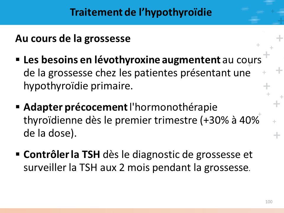 100 Traitement de lhypothyroïdie Au cours de la grossesse Les besoins en lévothyroxine augmentent au cours de la grossesse chez les patientes présenta