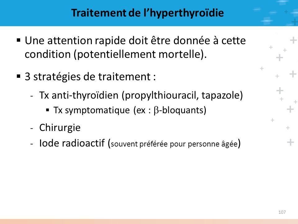 107 Traitement de lhyperthyroïdie Une attention rapide doit être donnée à cette condition (potentiellement mortelle). 3 stratégies de traitement : - T