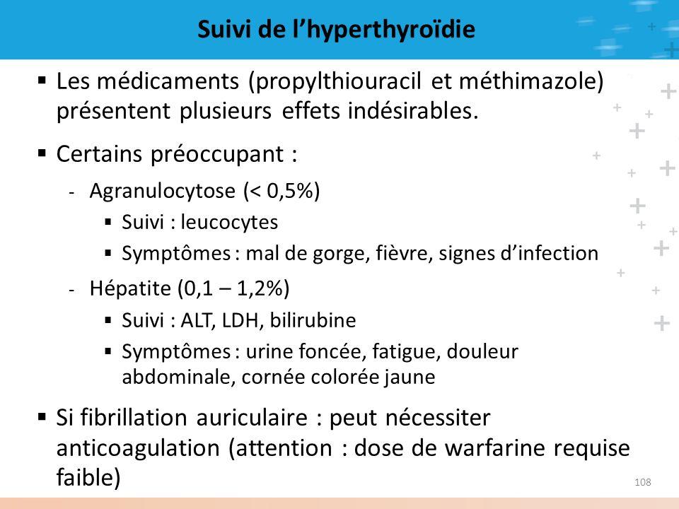 108 Suivi de lhyperthyroïdie Les médicaments (propylthiouracil et méthimazole) présentent plusieurs effets indésirables. Certains préoccupant : - Agra