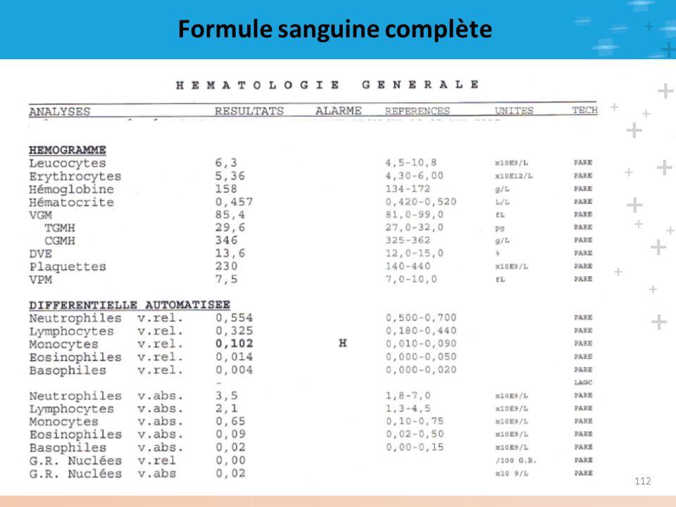Formule sanguine complète 112