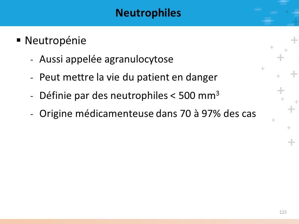125 Neutrophiles Neutropénie - Aussi appelée agranulocytose - Peut mettre la vie du patient en danger - Définie par des neutrophiles < 500 mm 3 - Orig