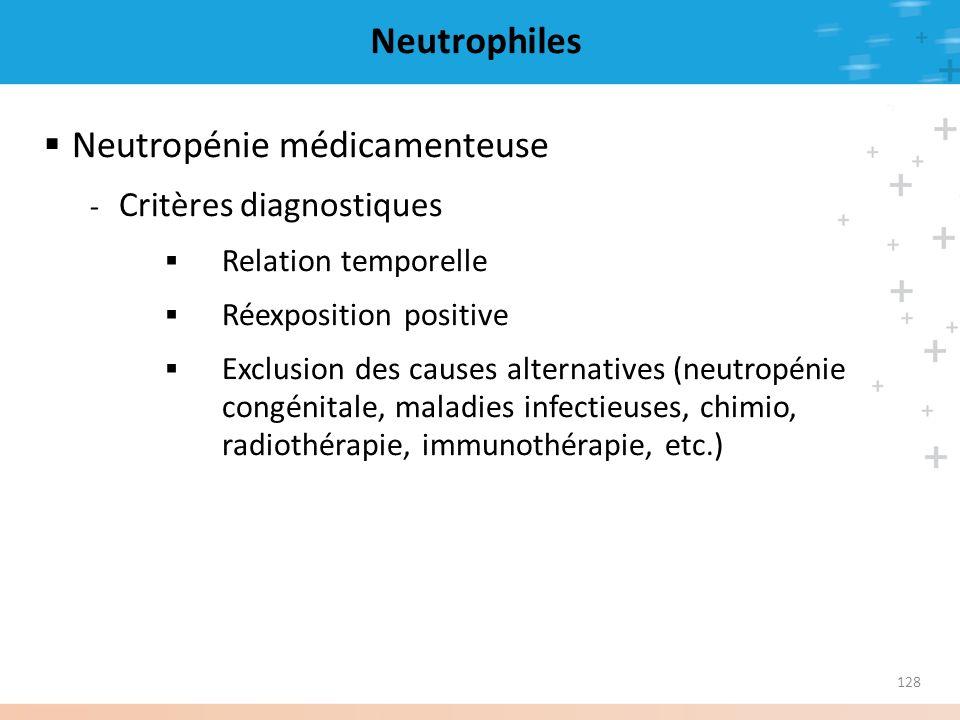 128 Neutrophiles Neutropénie médicamenteuse - Critères diagnostiques Relation temporelle Réexposition positive Exclusion des causes alternatives (neut