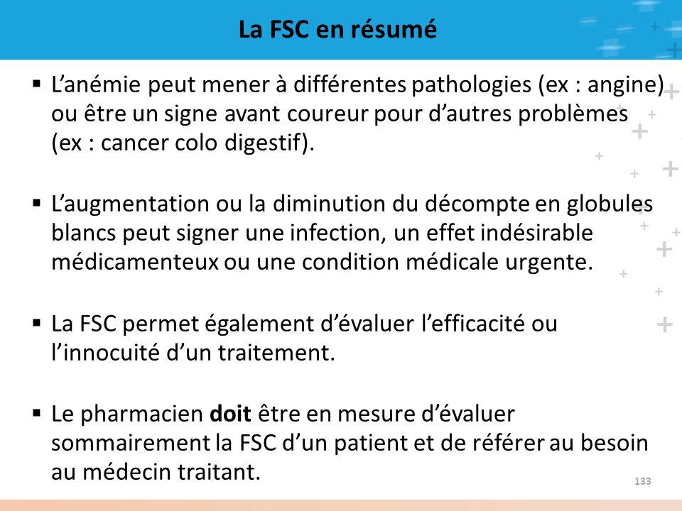 La FSC en résumé Lanémie peut mener à différentes pathologies (ex : angine) ou être un signe avant coureur pour dautres problèmes (ex : cancer colo di