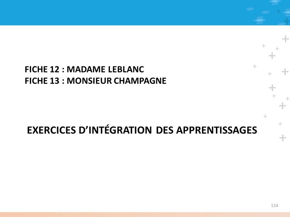 FICHE 12 : MADAME LEBLANC FICHE 13 : MONSIEUR CHAMPAGNE EXERCICES DINTÉGRATION DES APPRENTISSAGES 134