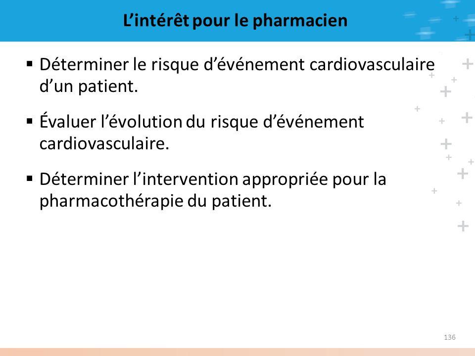 136 Lintérêt pour le pharmacien Déterminer le risque dévénement cardiovasculaire dun patient. Évaluer lévolution du risque dévénement cardiovasculaire