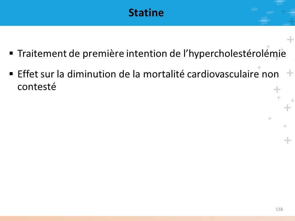 138 Statine Traitement de première intention de lhypercholestérolémie Effet sur la diminution de la mortalité cardiovasculaire non contesté