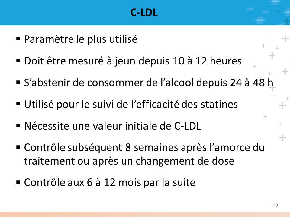 142 C-LDL Paramètre le plus utilisé Doit être mesuré à jeun depuis 10 à 12 heures Sabstenir de consommer de lalcool depuis 24 à 48 h Utilisé pour le s
