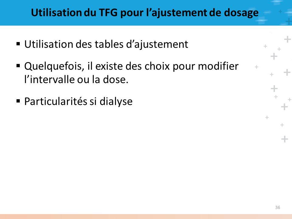 36 Utilisation du TFG pour lajustement de dosage Utilisation des tables dajustement Quelquefois, il existe des choix pour modifier lintervalle ou la d