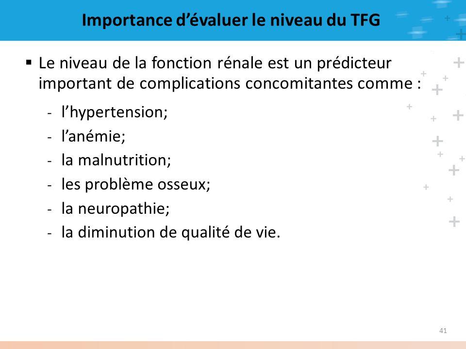 41 Importance dévaluer le niveau du TFG Le niveau de la fonction rénale est un prédicteur important de complications concomitantes comme : - lhyperten