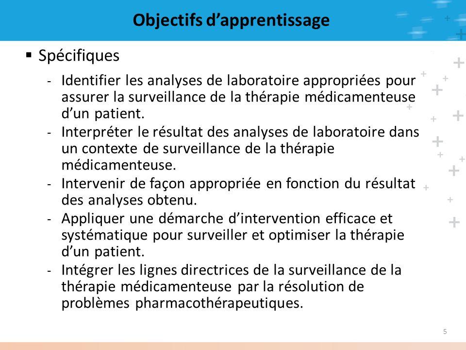 5 Objectifs dapprentissage Spécifiques - Identifier les analyses de laboratoire appropriées pour assurer la surveillance de la thérapie médicamenteuse