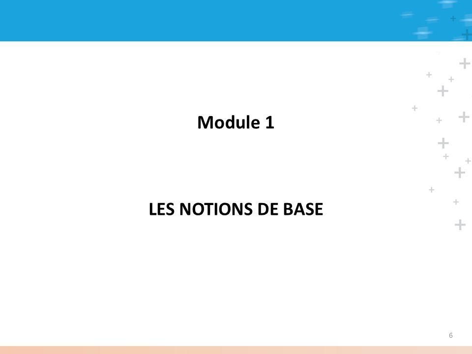 Module 1 LES NOTIONS DE BASE 6
