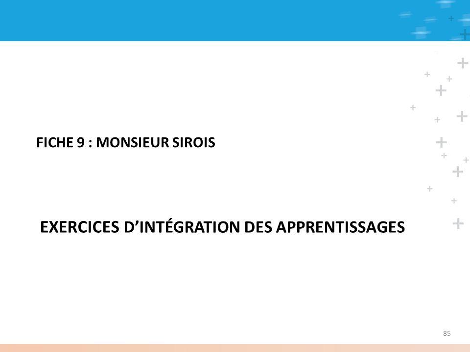 85 EXERCICES DINTÉGRATION DES APPRENTISSAGES FICHE 9 : MONSIEUR SIROIS