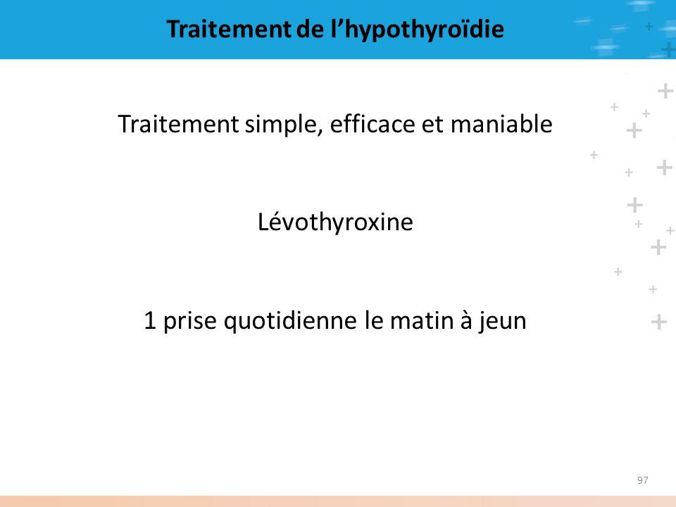 97 Traitement de lhypothyroïdie Traitement simple, efficace et maniable Lévothyroxine 1 prise quotidienne le matin à jeun