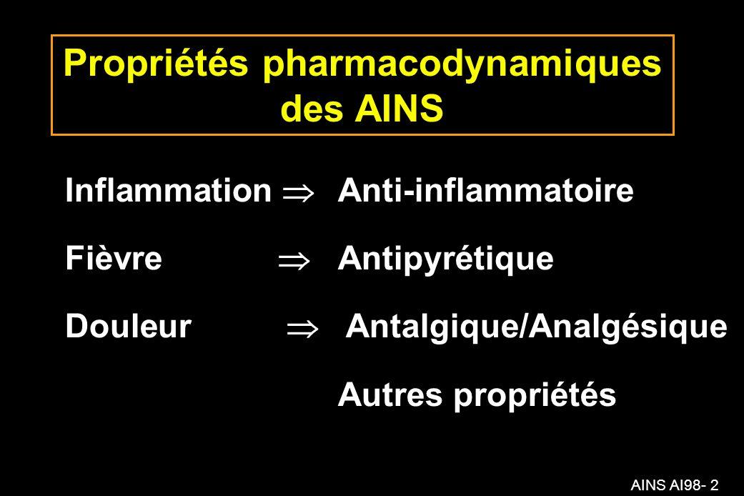 AINS AI98- 73 Propriétés analgésiques Liée à laction anti- inflammatoire (allodynie) Action centrale (profènes) paracétamol COX-2 sélectifs.
