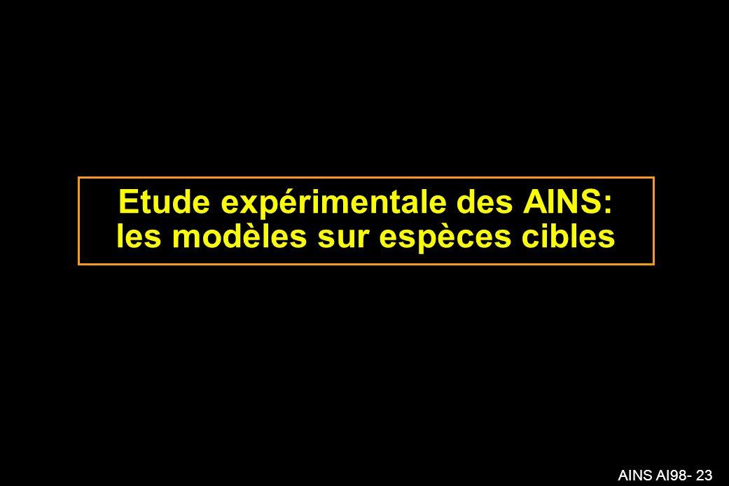 AINS AI98- 23 Etude expérimentale des AINS: les modèles sur espèces cibles