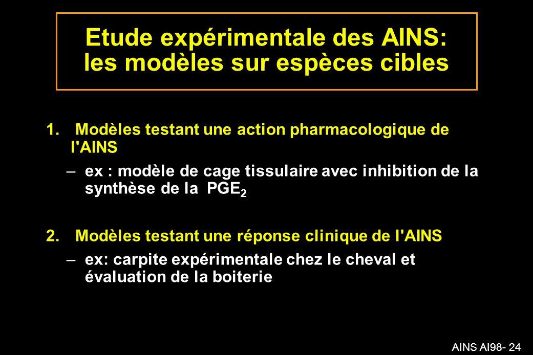 AINS AI98- 24 Etude expérimentale des AINS: les modèles sur espèces cibles 1.