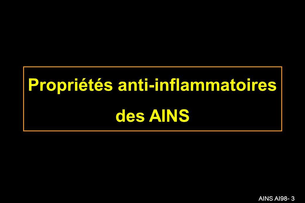 AINS AI98- 64 Action des AINS sur l inflammation Aiguë : +++ Chronique:± –Stimulation indirecte de la voie de la lipoxygénase (exacerbation de troubles respiratoires) –Absence d effet sur la migration des leucocytes