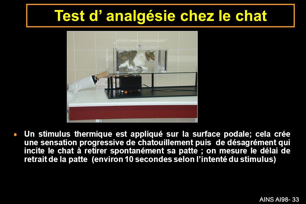 AINS AI98- 33 Un stimulus thermique est appliqué sur la surface podale; cela crée une sensation progressive de chatouillement puis de désagrément qui incite le chat à retirer spontanément sa patte ; on mesure le délai de retrait de la patte (environ 10 secondes selon lintenté du stimulus) Test d analgésie chez le chat