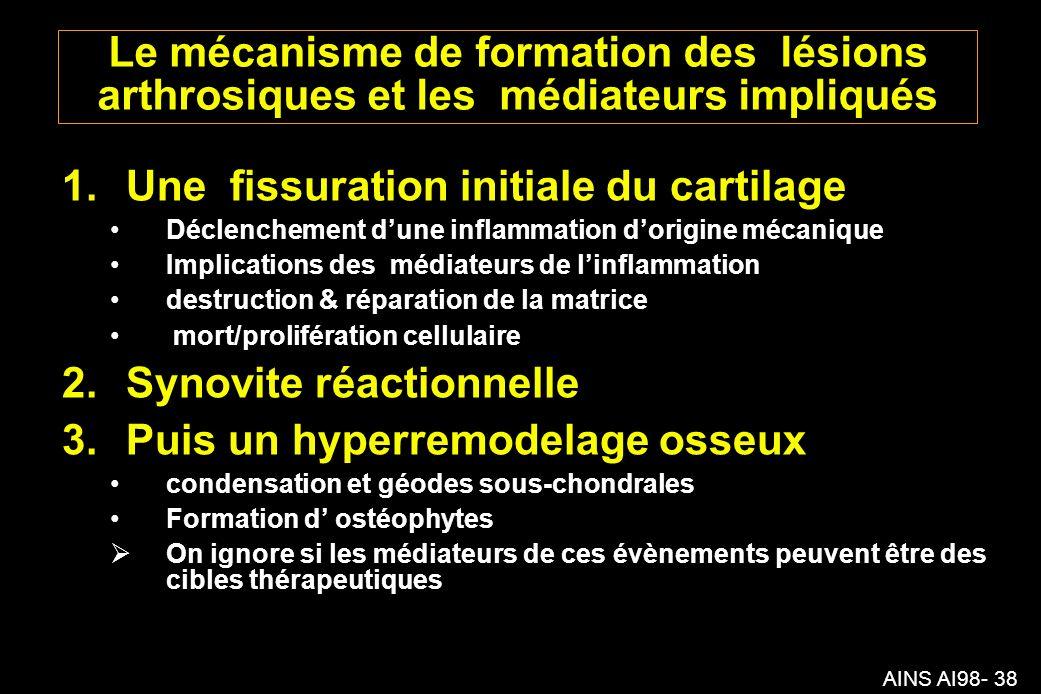 AINS AI98- 38 Le mécanisme de formation des lésions arthrosiques et les médiateurs impliqués 1.Une fissuration initiale du cartilage Déclenchement dune inflammation dorigine mécanique Implications des médiateurs de linflammation destruction & réparation de la matrice mort/prolifération cellulaire 2.Synovite réactionnelle 3.Puis un hyperremodelage osseux condensation et géodes sous-chondrales Formation d ostéophytes On ignore si les médiateurs de ces évènements peuvent être des cibles thérapeutiques