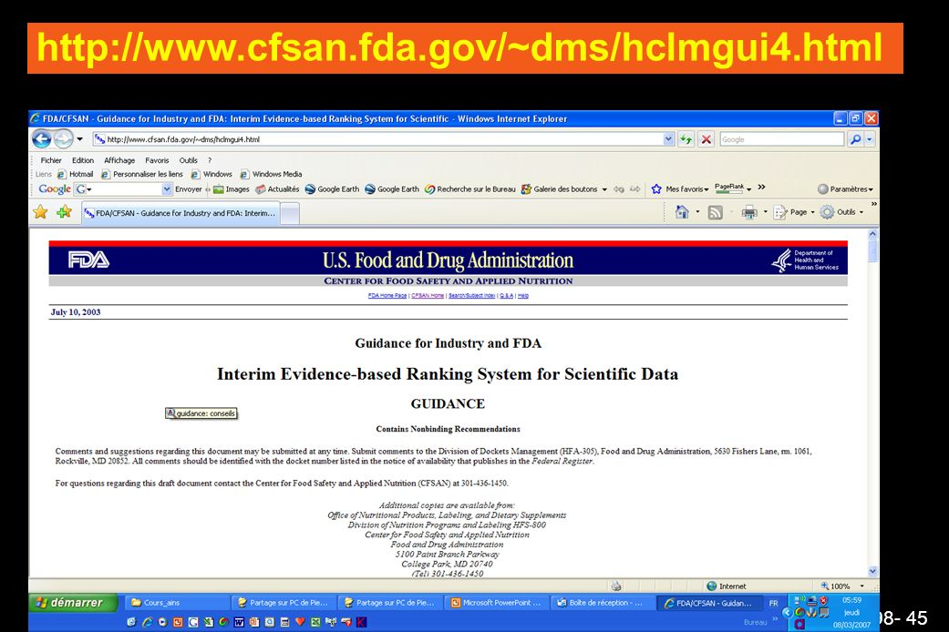 AINS AI98- 45 http://www.cfsan.fda.gov/~dms/hclmgui4.html