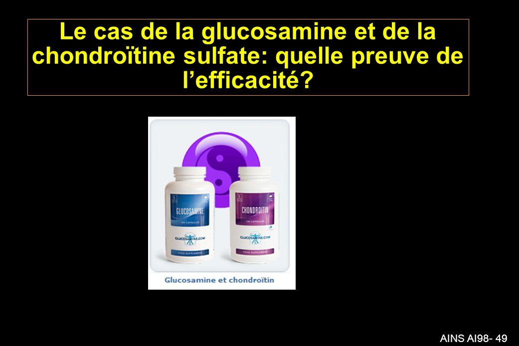 AINS AI98- 49 Le cas de la glucosamine et de la chondroïtine sulfate: quelle preuve de lefficacité?