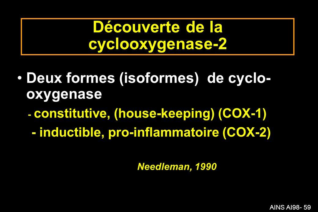 AINS AI98- 59 Découverte de la cyclooxygenase-2 Deux formes (isoformes) de cyclo- oxygenase - constitutive, (house-keeping) (COX-1) - inductible, pro-inflammatoire (COX-2) Needleman, 1990