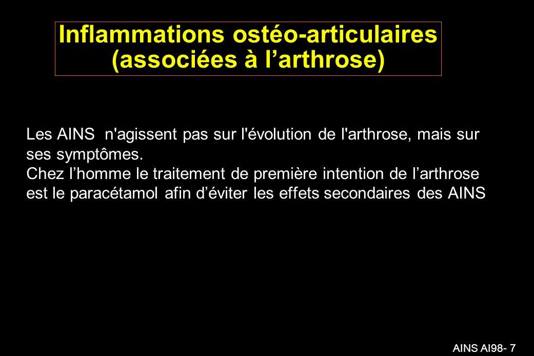 AINS AI98- 7 Inflammations ostéo-articulaires (associées à larthrose) Les AINS n agissent pas sur l évolution de l arthrose, mais sur ses symptômes.