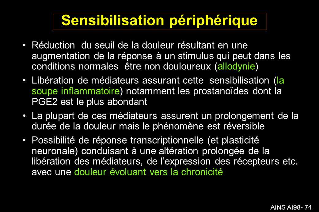 AINS AI98- 74 Sensibilisation périphérique Réduction du seuil de la douleur résultant en une augmentation de la réponse à un stimulus qui peut dans les conditions normales être non douloureux (allodynie) Libération de médiateurs assurant cette sensibilisation (la soupe inflammatoire) notamment les prostanoïdes dont la PGE2 est le plus abondant La plupart de ces médiateurs assurent un prolongement de la durée de la douleur mais le phénomène est réversible Possibilité de réponse transcriptionnelle (et plasticité neuronale) conduisant à une altération prolongée de la libération des médiateurs, de lexpression des récepteurs etc.