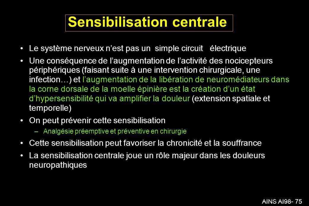 AINS AI98- 75 Sensibilisation centrale Le système nerveux nest pas un simple circuit électrique Une conséquence de laugmentation de lactivité des nocicepteurs périphériques (faisant suite à une intervention chirurgicale, une infection…) et laugmentation de la libération de neuromédiateurs dans la corne dorsale de la moelle épinière est la création dun état dhypersensibilité qui va amplifier la douleur (extension spatiale et temporelle) On peut prévenir cette sensibilisation – Analgésie préemptive et préventive en chirurgie Cette sensibilisation peut favoriser la chronicité et la souffrance La sensibilisation centrale joue un rôle majeur dans les douleurs neuropathiques