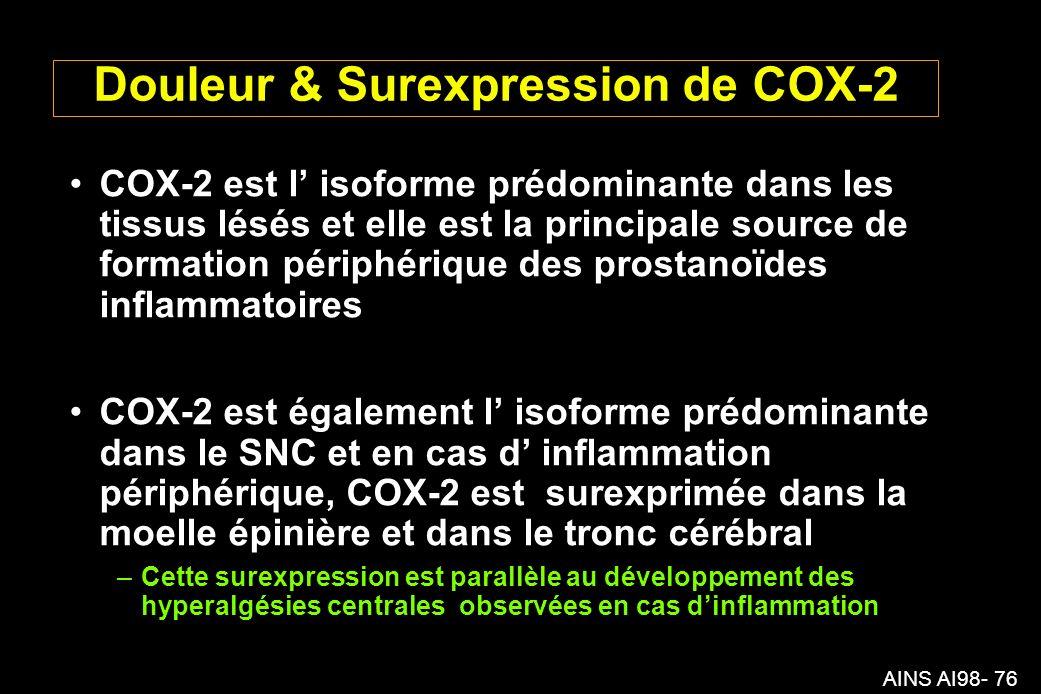 AINS AI98- 76 Douleur & Surexpression de COX-2 COX-2 est l isoforme prédominante dans les tissus lésés et elle est la principale source de formation périphérique des prostanoïdes inflammatoires COX-2 est également l isoforme prédominante dans le SNC et en cas d inflammation périphérique, COX-2 est surexprimée dans la moelle épinière et dans le tronc cérébral –Cette surexpression est parallèle au développement des hyperalgésies centrales observées en cas dinflammation