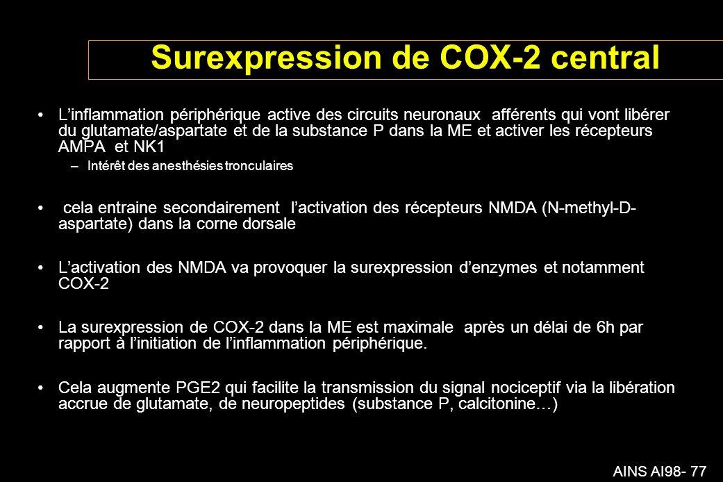 AINS AI98- 77 Surexpression de COX-2 central Linflammation périphérique active des circuits neuronaux afférents qui vont libérer du glutamate/aspartate et de la substance P dans la ME et activer les récepteurs AMPA et NK1 –Intérêt des anesthésies tronculaires cela entraine secondairement lactivation des récepteurs NMDA (N-methyl-D- aspartate) dans la corne dorsale Lactivation des NMDA va provoquer la surexpression denzymes et notamment COX-2 La surexpression de COX-2 dans la ME est maximale après un délai de 6h par rapport à linitiation de linflammation périphérique.