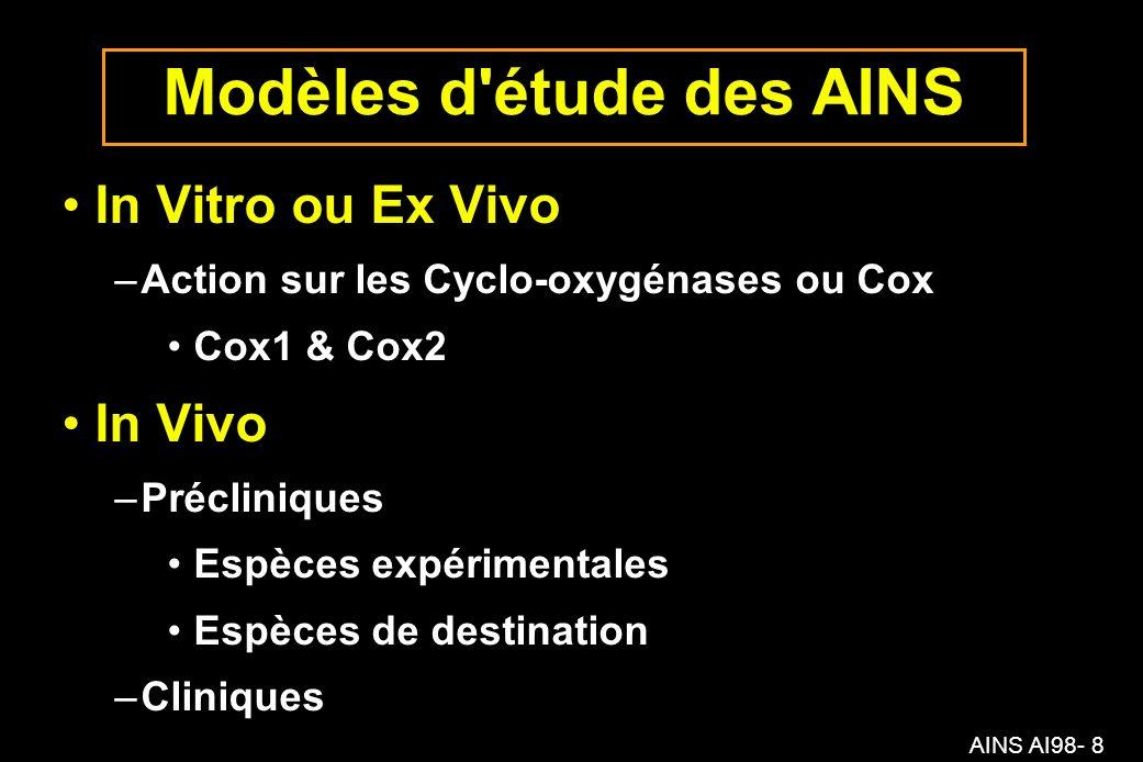 AINS AI98- 8 Modèles d étude des AINS In Vitro ou Ex Vivo –Action sur les Cyclo-oxygénases ou Cox Cox1 & Cox2 In Vivo –Précliniques Espèces expérimentales Espèces de destination –Cliniques