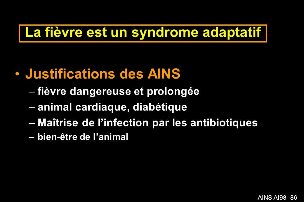 AINS AI98- 86 La fièvre est un syndrome adaptatif Justifications des AINS –fièvre dangereuse et prolongée –animal cardiaque, diabétique –Maîtrise de linfection par les antibiotiques –bien-être de lanimal